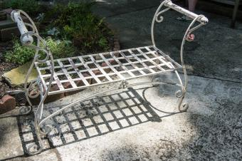 Wrought Iron Scroll Bench